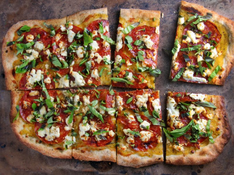 Chorizo Pizza with Balsamic Roasted seeds